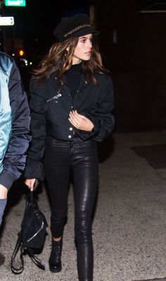 Kaia Gerber in Ellery Bomber Jacket and Paige Skinny Jeans