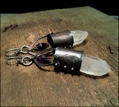RESERVED for RD: raw quartz crystal earrings by Experimetal Metal Jewelry, Body Jewelry, Custom Caps, Etsy Earrings, Crystal Earrings, Quartz Crystal, Metal Art, Amethyst, Jewelry Making