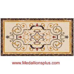 "Danbury, 36"" x 60"" Rectangle Waterjet Cut Floor Medallion, Polished - MedallionsPlus.com - Floor Medallions on Sale. Tile, Mosaic, & Stone Inlays.:"