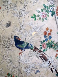 18th Century Chinese Wallpaper Screen with Bamboo and Birds 2