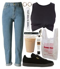 """""""I need to"""" by velvet-ears ❤ liked on Polyvore featuring WithChic, Puma, NYX, LUMO, 7 For All Mankind and Acne Studios"""