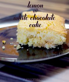 Moist and light, my lemon and white chocolate cake is fluffy and citrussy, and has hidden pockets of deliciously decadent melted white chocolate. | yumsome.com