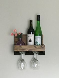 Wine Rack Shelf, Built In Wine Rack, Bar Shelves, Wood Wine Racks, Wine Rack Wall, Wall Mounted Shelves, Wooden Shelves, Wine Shelves, Wine Bottle Display