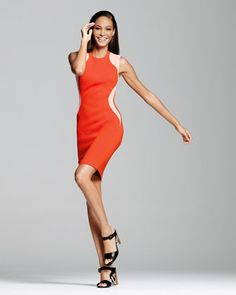 Stella McCartney Contour-Colorblock Sheath Dress, Vermillion - Neiman Marcus