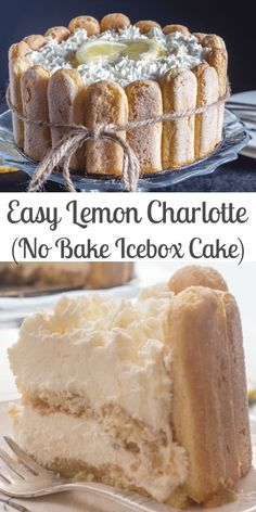 This lemon charlotte is a fast and easy no bake dessert made with lady fingers and a creamy lemon filling iceboxcake lemoncharlotte charlotte lemoniceboxcake lemondessert lemoncake nobakedessert summerdessert Finger Desserts, Easy No Bake Desserts, Köstliche Desserts, Frozen Desserts, Delicious Desserts, Dessert Recipes, Fast And Easy Desserts, Easy Lemon Desserts, Icebox Cake Recipes