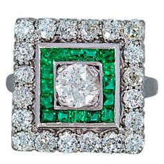 Jabel Elegant Art Deco Emerald Diamond Platinum Engagement Ring