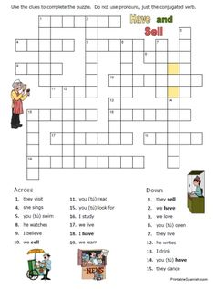 Spanish Worksheets Printables | printable crossword puzzle worksheet spanish regular verbs and tener