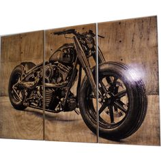 Harley Davidson Fatboy Softail Motorcycle Bike Print Wood Painting... (9.670 RUB) ❤ liked on Polyvore featuring home, home decor, wall art, dark olive, home & living, home décor, wooden home decor, wooden wall art, wood panel and bicycle painting