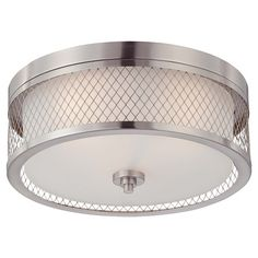 Featuring a latticework overlay and brushed nickel finish, this timeless flush mount casts a warm glow in your foyer or dining room.