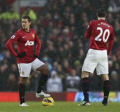Javier Hernandez and Robin Van Persie of Manchester United