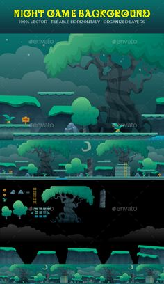 Night #Game Background - Backgrounds Game Assets Download here: https://graphicriver.net/item/night-game-background/19523861?ref=alena994