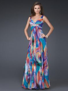 multi color gowns | ... Draped Multi-Color Printed Evening Gown of Brooch : SG1371 : $200.99