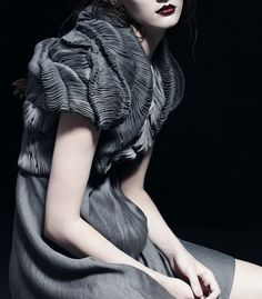 Delicate Rippling Pleats - sumptuous dress with fine texture detail; luxurious fabric manipulation for fashion // Yiqing Yin