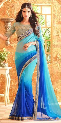 Sky Blue Designer Saree For Party Wear