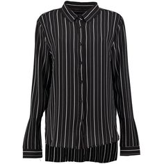 Boohoo Lacey Striped Dip Hem Shirt ($32) ❤ liked on Polyvore featuring tops, long sleeve shirts, striped top, crop top, long sleeve jersey shirt and long sleeve crop top