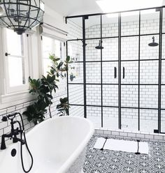 Just Pinned to Salle de bain: Bathroom with black hardware, black framed shower doors, black and white patterned encaustic tile floor, designed by Life Style LA, via Bad Inspiration, Bathroom Inspiration, Bathroom Inspo, Cozy Bathroom, Serene Bathroom, Rental Bathroom, Light Bathroom, Downstairs Bathroom, Bathroom Cleaning