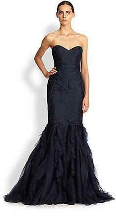 Theia Strapless Lace-Detail Gown