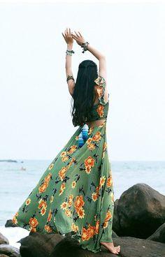 Mai Xu Green Flroal Bohemian Beach Dress