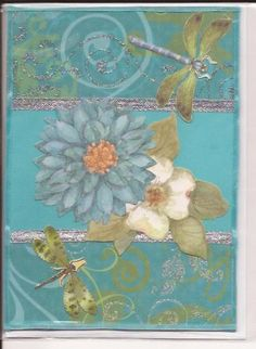 Handmade Birthday Card with Dragon Fly and Flowers