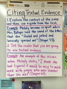 Anchor Chart on citing textual evidence using Out of My Mind by Sharon Draper Teaching Writing, Writing Skills, Teaching Ideas, Thesis Writing, Writing Strategies, Opinion Writing, Writing Ideas, Writing Activities, Essay Writing