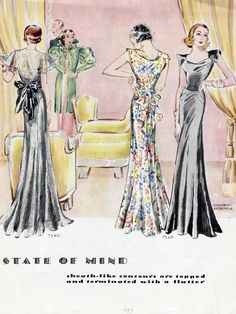 Evening Gown Fashions Day Fashion of 1933   McCall 7540 (after Agnès Drecoll) and 7520 (after Lyolène)