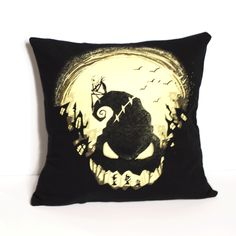 "One of a kind Nightmare Before Christmas pillow featuring Jack Skellington and the Oogie Boogie Man. - As soft as your favorite tee shirt - 14"" x 14"" pillow - Envelope closure in the back for easy was"