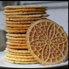 Pizzelles Recipe - thin, wafer like cookie that can also be rolled and filled