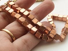 Copper Pyrite Cube Beads Copper Pyrite Plain Box by gemsforjewels