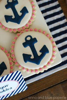 Navy & Pink Anchor Decorated Sugar Cookies 12 by sweetgoosiegirl, $33.00