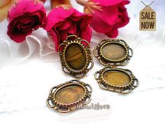 4pcs   Antique Bronze Cameo Cabochon Base Setting by ministore, $1.95