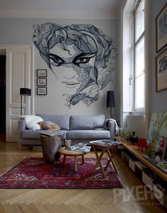 "Wall Mural ""Blue Dream"", via pixers.com"
