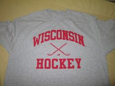 Team Issue Wisconsin Badgers  NCAA  T  Shirt Size  L Large  - Gray - HOCKEY #X #WisconsinBadgers
