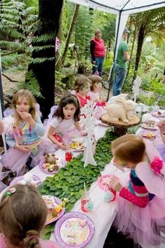 Fairy Girl Woodland Tinkerbell Birthday Party Planning Ideas Pink Fairy Party via Kara's Party Ideas Fairy Birthday Party, Birthday Party Tables, Fairy Party Games, Birthday Ideas, Fairy Tea Parties, Tinkerbell Party, Butterfly Party, Childrens Party, Party Ideas