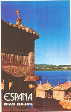 Combarro en Pontevedra en un cartel de turismo de España del año 1975