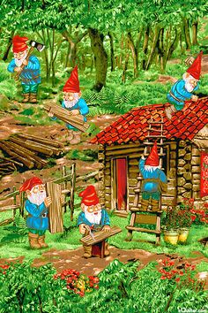 Gnomes doing repair work after the long winter storms.