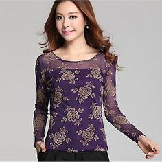 Women's Round Collar Lace Printing Rose Yarn Long Sleeve Slim T-Shirt – USD $ 18.19