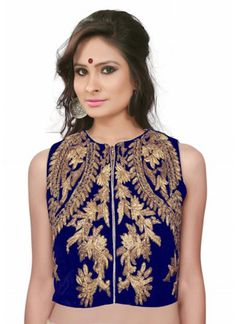 Blue Bulk Velvet Blouse With Embroidered Work