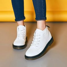 Black White Lace Up British Style Flat Ankle Martin Boots For Women - Gchoic.com #shoes #women #popular #fashion #discount #cheap #want Pinterest