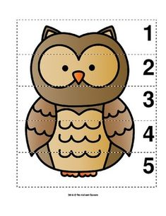 Number Sequence 1-5 Preschool Picture Puzzle - Owl