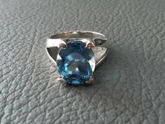 BLUE TOPAZ Silver RING with 925 sterling silver rings # jewelry modern Gemstones Ring Sterling Silver rings December Birthstones .