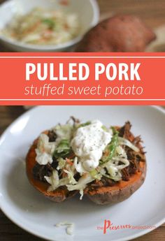 These Pulled Pork Sweet Potatoes make a quick, healthy and delicious meal using leftvoer pulled pork!