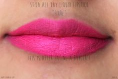 Stila stay all day lipstick aria and fiore swatches - hot pink matte liquid stain