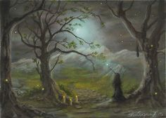 Philippe Fernandez-Original Miniature Painting Witch Gothic Moon Landscape  $255.00