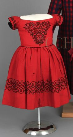 Dress, 1865-70. Red wool, black soutache trim. Chester County Historical Society.