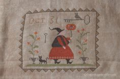 counted cross stitch pattern : spooky hollow with thy needle primitive halloween c