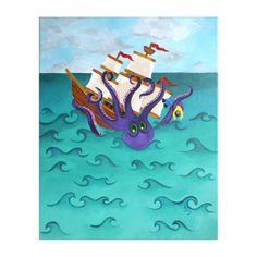 Children's Wall Art KRAKEN ATTACK 16x20 Acrylic Canvas by nJoyArt, $200.00