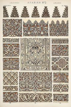 """Page trouvée dans un livre de motif, ce sont des motifs différents des """"zelliges"""", ils sont organiques, inspirés de la nature et des végétaux. Certains de ces motifs peuvent être associés à des zeilliges : pour créer des frises d'encadrements ou pour les intégrés aux pétales ou aux étoiles des zelliges.Mais ils sont principalement utilisés pour les bas-reliefs en platre ou en stuc. Graphic Design Books, Book Design, Famous Books, Owen Jones, Shape Patterns, Pattern Ideas, Old Books, Animal Print Rug, Art And Architecture"""