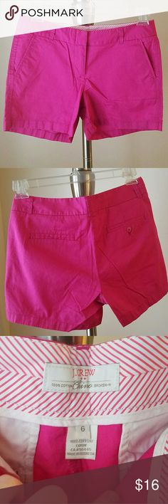 """J. Crew Pink Shorts - size 6 - Great Condition! Super cute pair of 7"""" J. Crew chino, broken-in shorts made of 100% cotton. Women's size 6. Only worn a few times. Great bright pink color! Very preppy and comfortable. Comes from a smoke-free and pet-free home. Thanks for looking and happy shopping! J. Crew Shorts"""