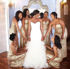 20 Flawless Black Wedding Parties - Ellicks Ever After - Dress Gold Bridesmaid Dresses, Brides And Bridesmaids, Wedding Dresses, Prom Dresses, Midi Dresses, Long Dresses, African American Weddings, Black Bride, Before Wedding