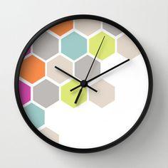 Hexagons Beehive Wall Clock Pastel Hexagons Beehive by adidit